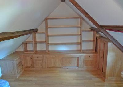 Ebeniste dans l'Eure 27 réalisation d'une bibliotheque sous pente